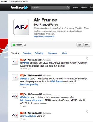 Air France twitter Japon séisme